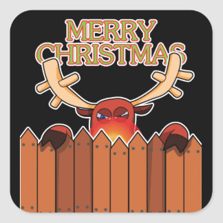 Reindeer Merry Christmas Sticker