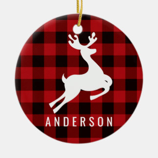 Reindeer Monogram | Deep Red Buffalo Plaid Christmas Ornament