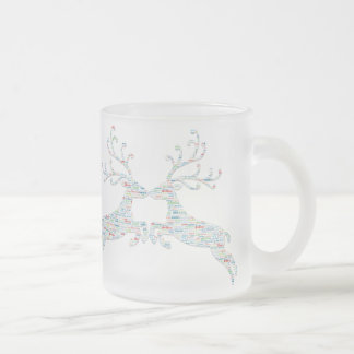 Reindeer Names Cut Outs Frosted Glass Coffee Mug