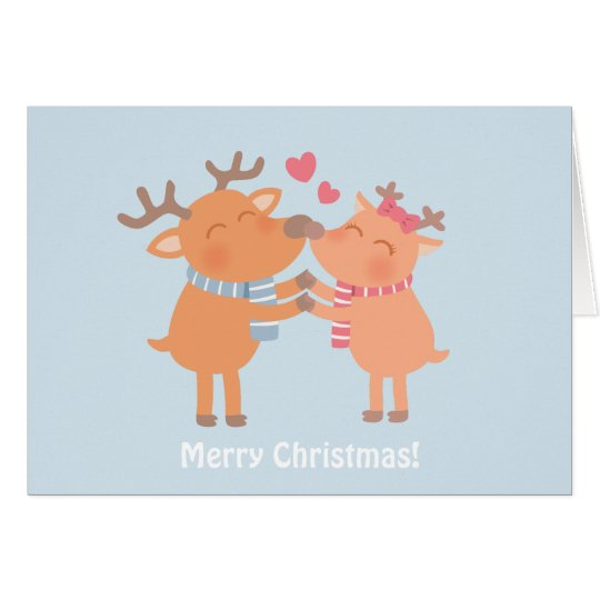 Reindeer Nuzzle In Love Christmas Greeting Card