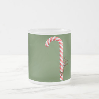 Reindeer on candy cane frosted glass coffee mug