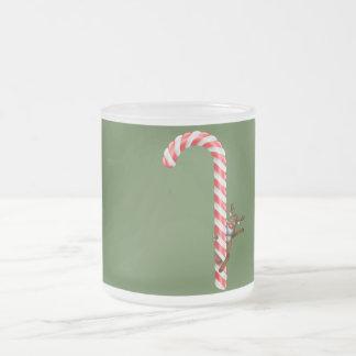 Reindeer on candy cane coffee mug