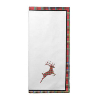 Reindeer on Red and Green Tartan Christmas Plaid Napkin