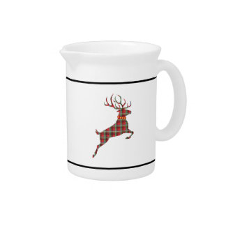Reindeer on Red and Green Tartan Christmas Plaid Pitcher