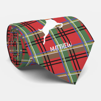 Reindeer on Red and Green Tartan Christmas Plaid Tie