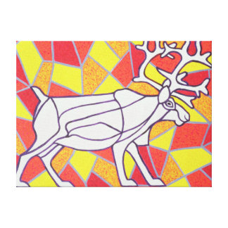 Reindeer on Stained Glass Canvas Print