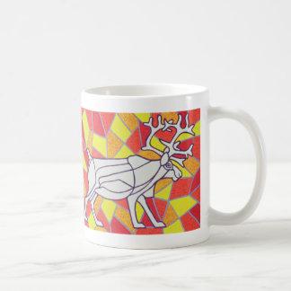 Reindeer on Stained Glass Coffee Mug