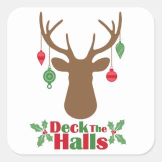 Reindeer Ornaments Deck The Halls Stickers