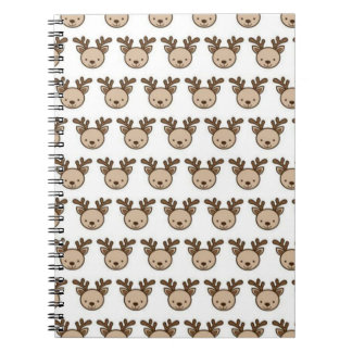 Reindeer Pattern Spiral Notebook (80 Pages B&W)