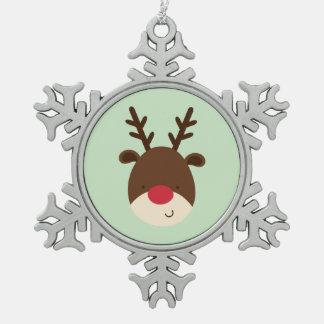 Reindeer Pewter Snowflake Decoration
