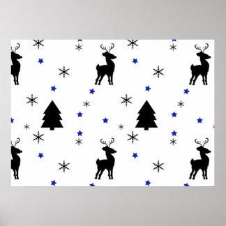 Reindeer Pine Forest Poster