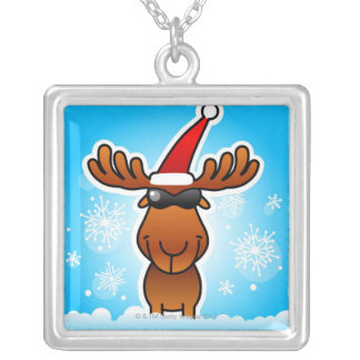 Reindeer Playing Santa Silver Plated Necklace