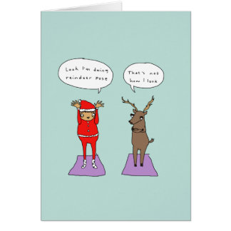 Reindeer Pose | Funny Yoga Comic Christmas Card