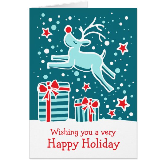 Reindeer prancing gifts teal green Christmas card