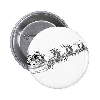 Reindeer Pulling Santa's Sleigh. 6 Cm Round Badge