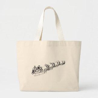 Reindeer Pulling Santa's Sleigh. Large Tote Bag
