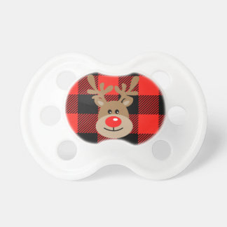 Reindeer Red and Black Buffalo Plaid Pacifier