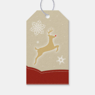 Reindeer Red and Gold Gift Tags