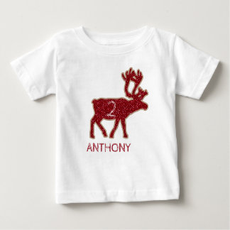Reindeer Red Glitter Christmas Holiday Birthday Baby T-Shirt