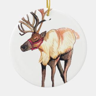 Reindeer Round Ceramic Decoration