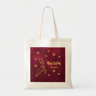 Reindeer Rudolph snowflakes burgundy and faux gold Tote Bag