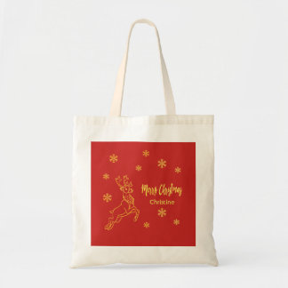 Reindeer Rudolph snowflakes red and faux gold Tote Bag