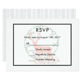 Reindeer Rustic Botanical Watercolor Wedding RSVP Card