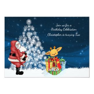Reindeer, Santa and Christmas Tree Birthday Invite