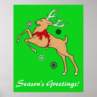 Reindeer Season's Greetings Poster