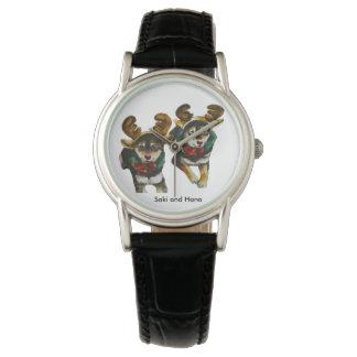Reindeer Shiba Inu Hana and Saki Watches