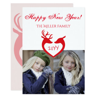 Reindeer Silhouette Red and White Happy New Year Card