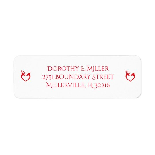 Reindeer Silhouette Red and White Return Address Return Address Label