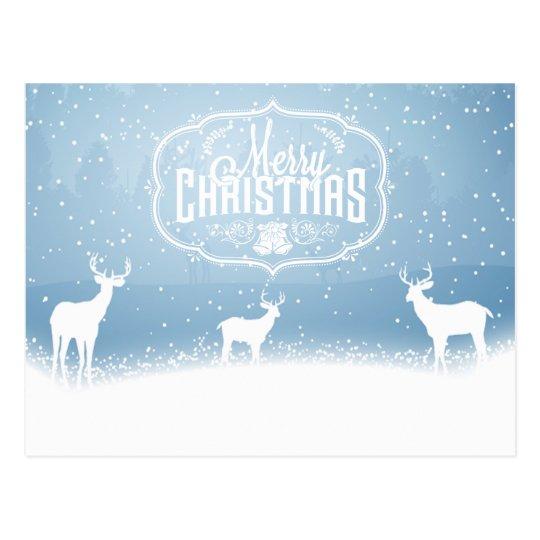 Reindeer Silohettes Christmas Holiday postcard
