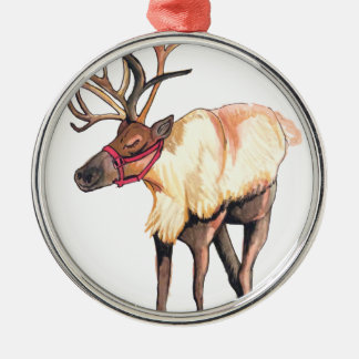 Reindeer Silver-Colored Round Decoration