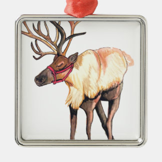 Reindeer Silver-Colored Square Decoration