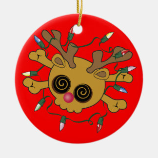 Reindeer Skull Double-Sided Ceramic Round Christmas Ornament