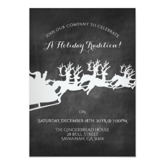 Reindeer Sleigh Chalkboard Holiday Celebration Card