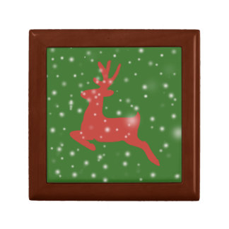 Reindeer Snow X-mas Tile Gift Box, Golden Oak Gift Box