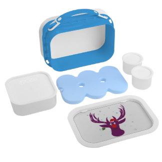 Reindeer Snow X-mas Yubo Lunchbox, Blue Lunch Box