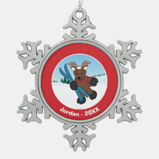Reindeer Snowflake Pewter Christmas Ornament