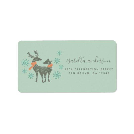Reindeer & Snowflakes Christmas Return Address Label