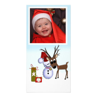 Reindeer Snowman Photo Card