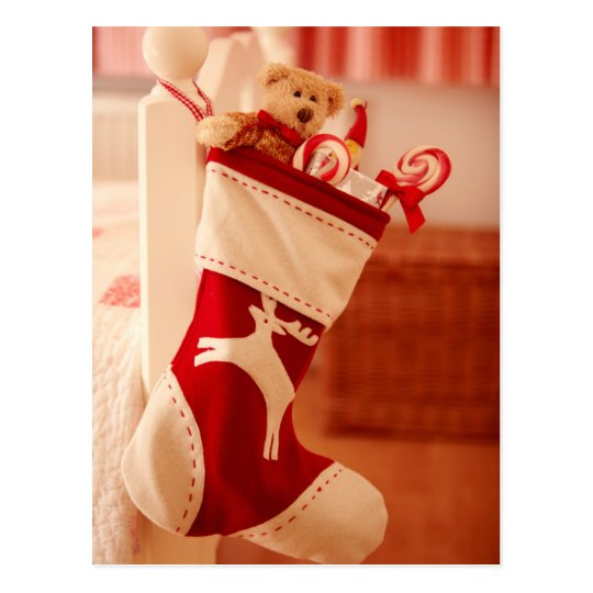 Reindeer Stocking Postcard