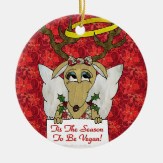 Reindeer Tis The Season to Be Vegan Angel Ornament