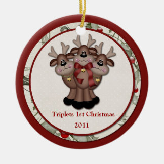 Reindeer Triplets 1st Christmas Christmas Ornament
