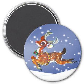 reindeer vintage art magnet 3 inch round magnet