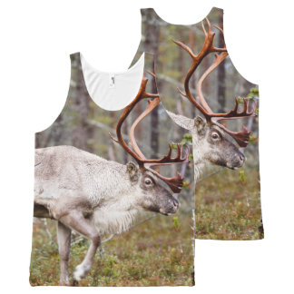 Reindeer walking in forest All-Over print tank top