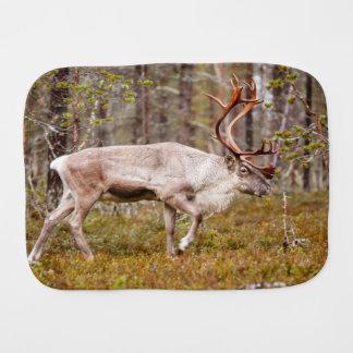 Reindeer walking in forest burp cloth