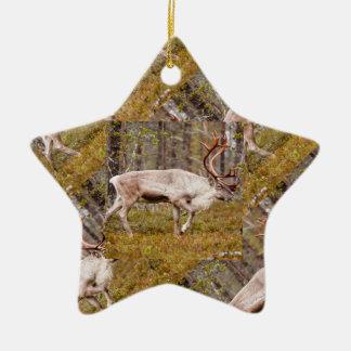 Reindeer walking in forest christmas ornament