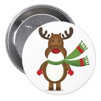Reindeer Wearing a Green Scarf Button